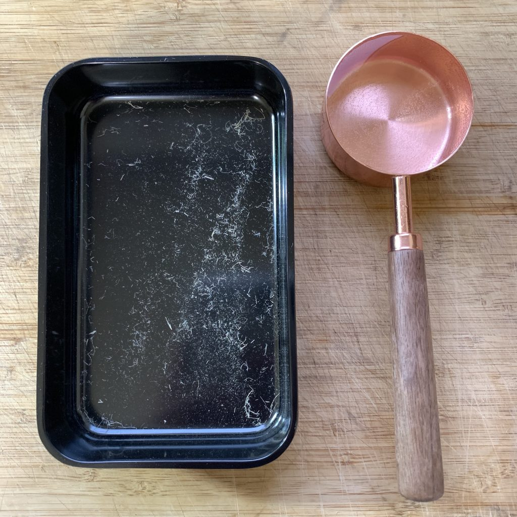 Microgreen tray and copper/wood measuring cup